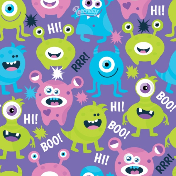 Vintage Map Iphone Wallpaper Cute Monsters Seamless Background Free Vector In Adobe