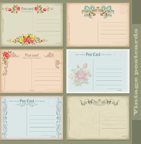 Cute vintage postcard vectors Free vector in Encapsulated PostScript