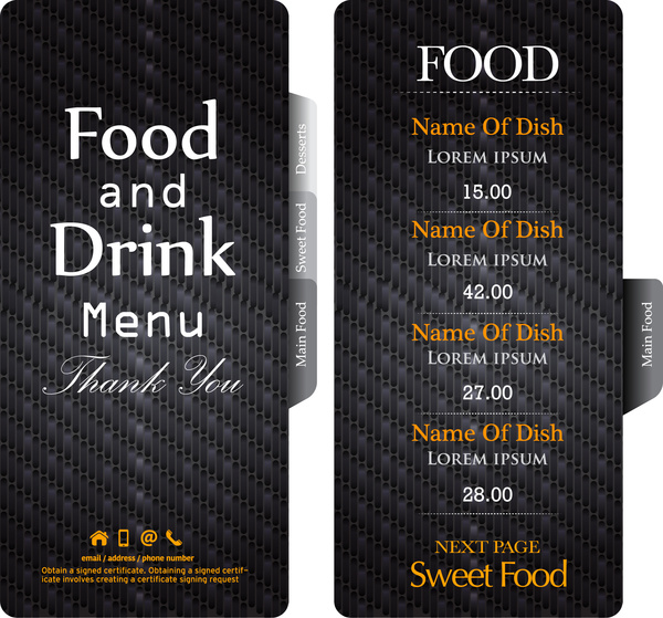 Dark black restaurant menu template Free vector in Adobe Illustrator