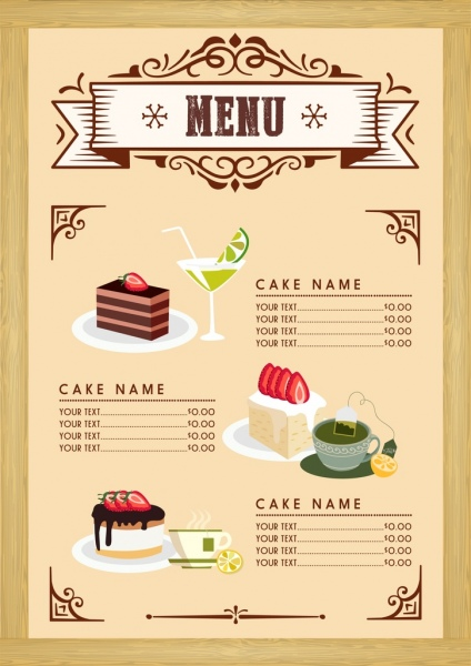 Dessert menu template cake beverages icons classical design Free