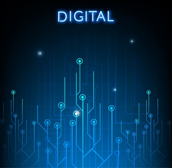 Digital circuit background dark blue decor Free vector in Adobe