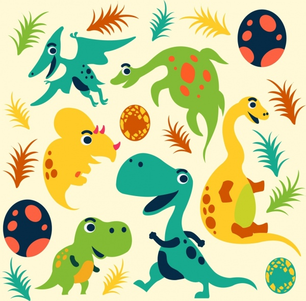 Cute Baby Girl Wallpapers Free Dinosaur Background Cute Cartoon Icons Multicolored Sketch
