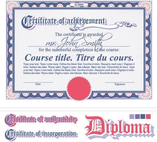 Diploma Certificate Design Elements Vector Set Free Vector In – Certificate Design Format