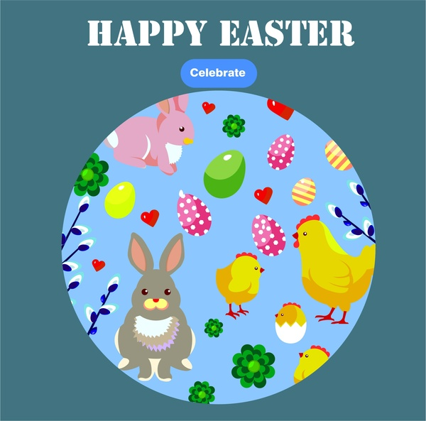 Easter card template illustration with symbols in round Free vector