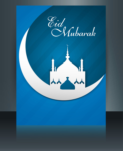 Eid mubarak mosque template brochure festival for beautiful
