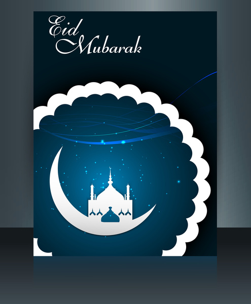 Eid mubarak mosque template brochure festival for beautiful