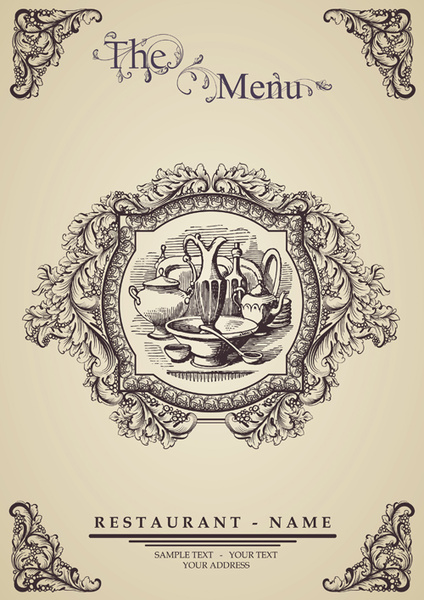 Elegant restaurant wine menu vector graphics Free vector in