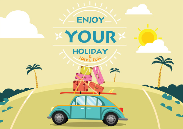 Free Cute Quote Wallpapers Enjoy Holiday Banner With Car And Luggages Illustration