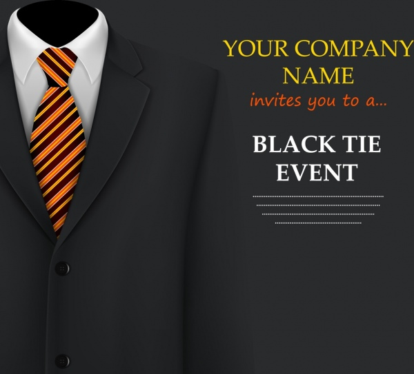 Event invitation card template suit icon black background Free - event card template