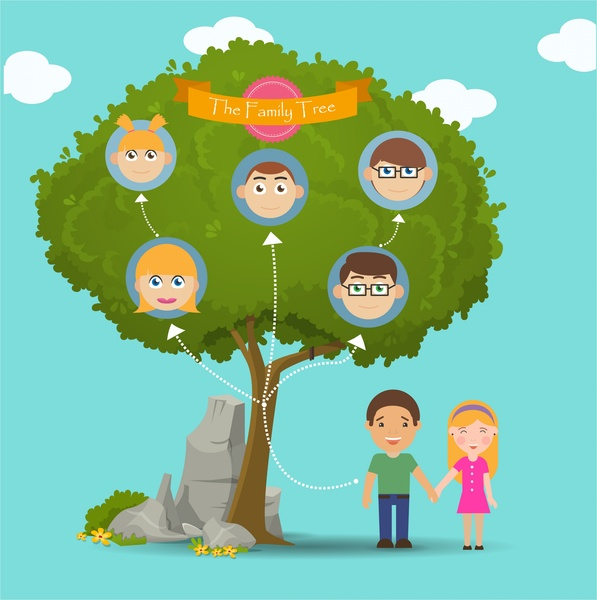 Family tree infographic illustration face icons Free vector in Adobe