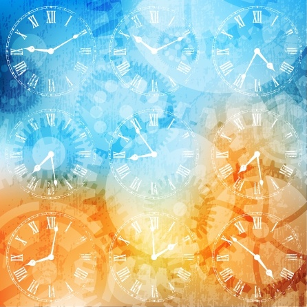 Fancy silhouette background vector clock hands Free vector in