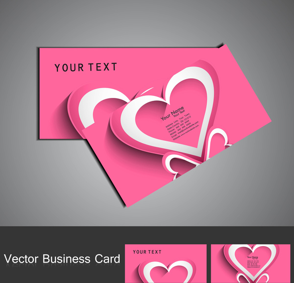 Fantastic valentines day red colorful heart business card set Free