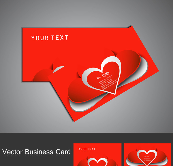 Business valentines day cards kicksneakers fantastic valentines day red colorful heart business card set free colourmoves