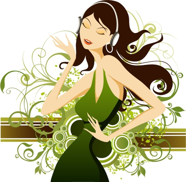 Lifestyle painting fashion lady icons decorative curves decor Free