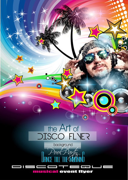 Fashion club disco party flyer template vector Free vector in