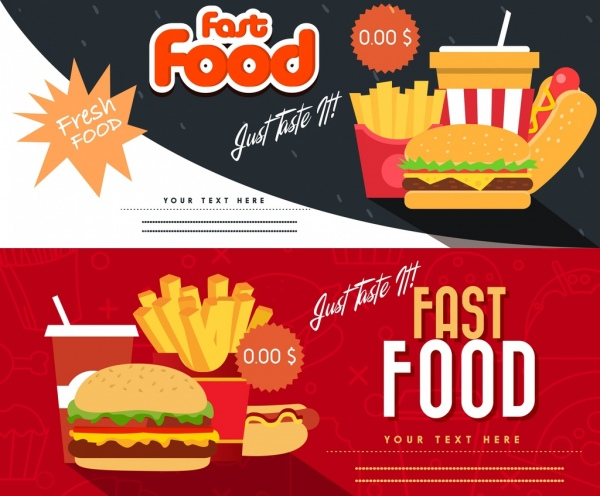 Fast food coupon templates horizontal modern design Free vector in