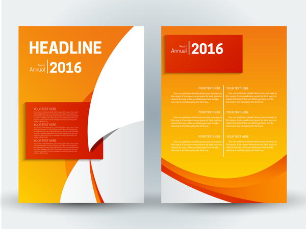 Finance brochure design with orange background Free vector in Adobe