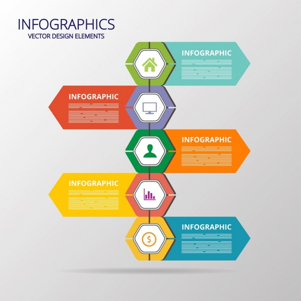 Flat infographic template colorful polygon arrows decor Free vector