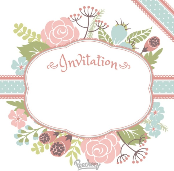 Cute Happy Girl Wallpapers Floral Invitation Free Vector In Adobe Illustrator Ai
