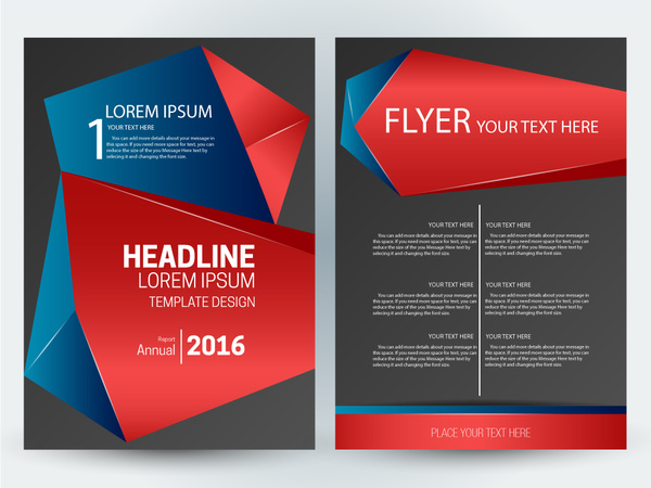 Flyer template design with abstract 3d dark background Free vector