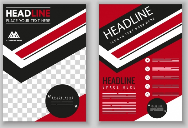 Flyer template modern red black design checkered decor Free vector
