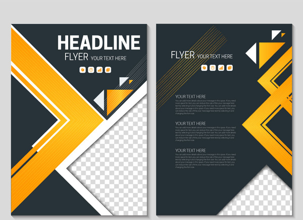 Flyer template on geometric black background Free vector in Adobe