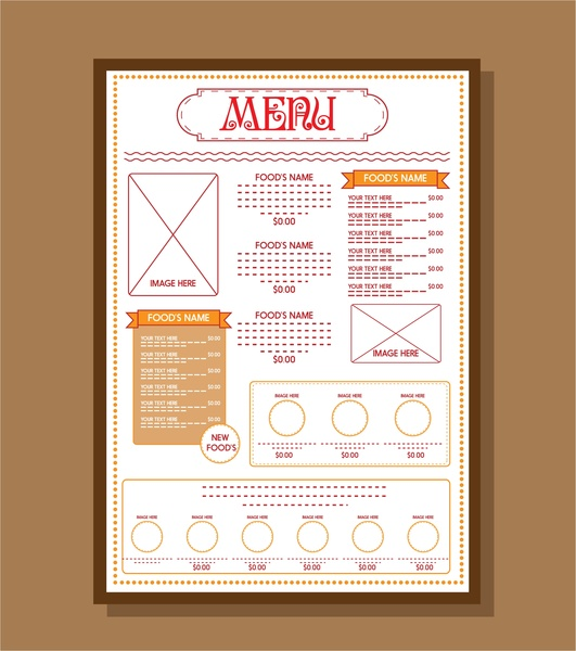 Food menu template red texts on white background Free vector in - free food menu template