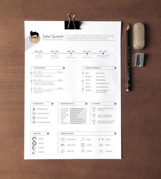 Free professional resume cv template for graphic designers Free