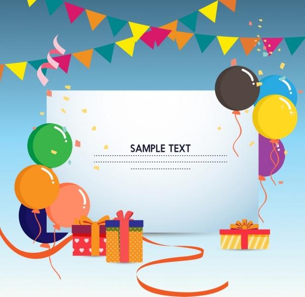 Gift card template colorful balloons ribbon box ornament Free vector