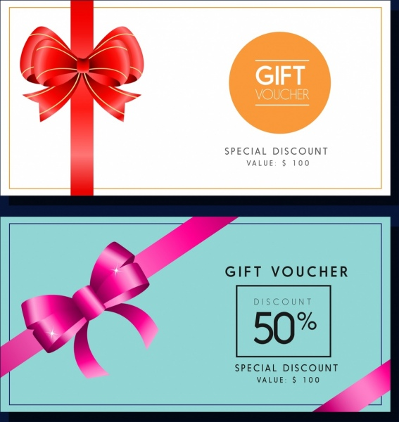 Gift voucher templates colored ribbon decoration Free vector in