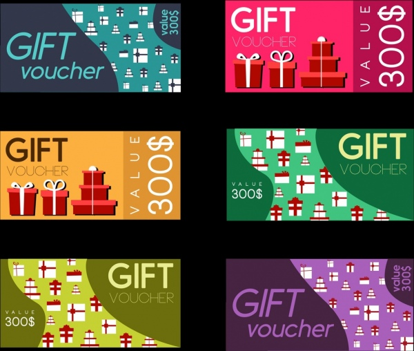Gift vouchers collection colorful flat design Free vector in Adobe