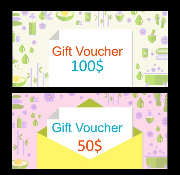 Gift vouchers design with herbal symbols background Free vector in