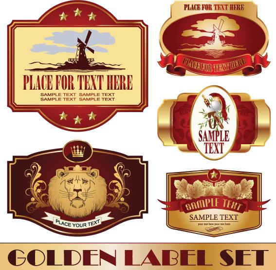 Golden bottle of wine labels vector Free vector in Encapsulated - free wine label design