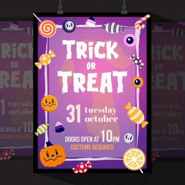 Halloween flyer template violet decor candies pumpkins icons Free