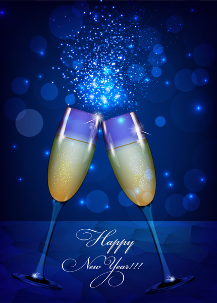 Happy new year background with wine glass Free vector in Adobe