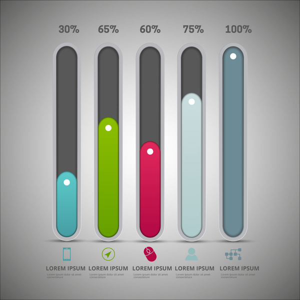 Infographic diagram design with vertical tabs and percentage Free