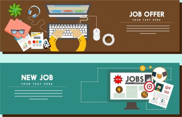 Job advertisement templates office tools elements decoration Free