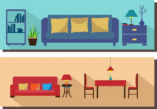 Living room furniture scheme sets colored flat design Free vector - free living room furniture