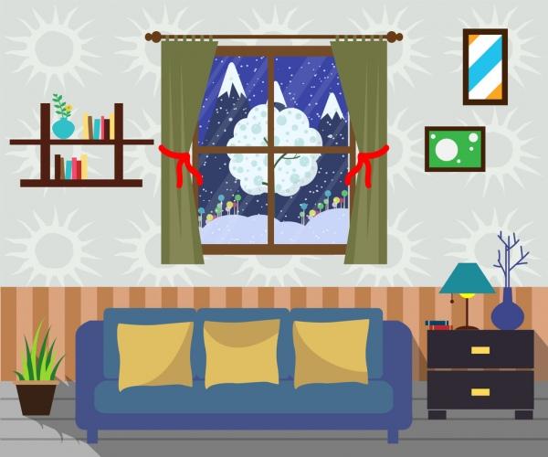 Living room furniture scheme warming style decoration Free vector - free living room furniture