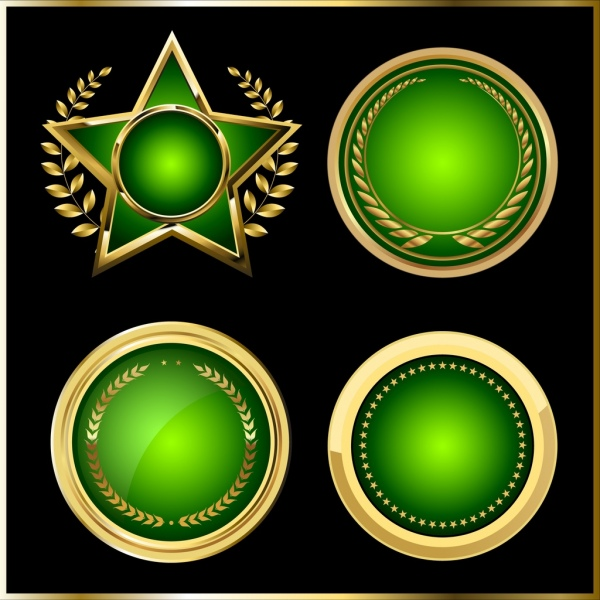 Medal templates round star icons shiny green design Free vector in