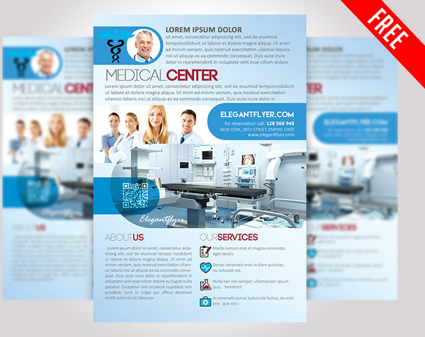 Medical center free psd flyer template Free psd in Photoshop psd