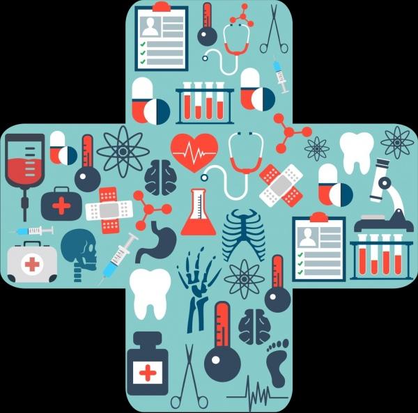 Medical design elements cross bandage layout flat symbols Free