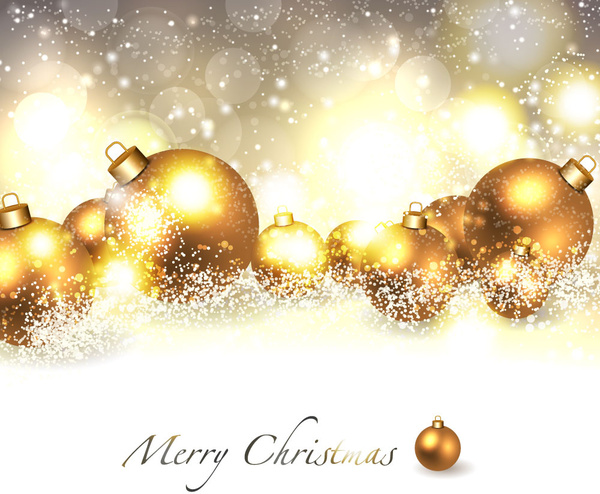 Merry christmas background with golden ball Free vector in Adobe