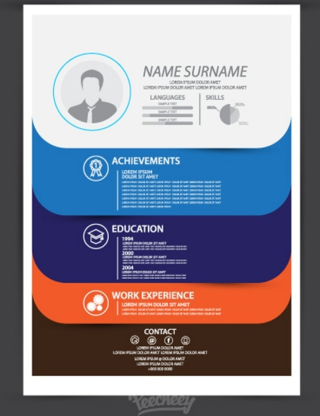 Modern resume template Free vector in Adobe Illustrator ai ( ai
