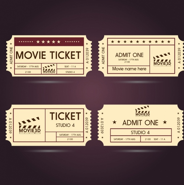 Movie ticket templates classical horizontal style Free vector in - movie ticket template