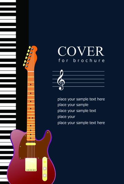 Music brochure cover vector background Free vector in Encapsulated