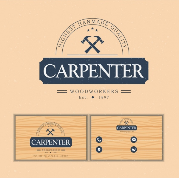 Name card template carpenter logotype wooden backdrop Free vector in - name card format