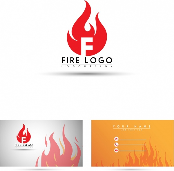 Name card template fire logo icon flame background Free vector in - name card format