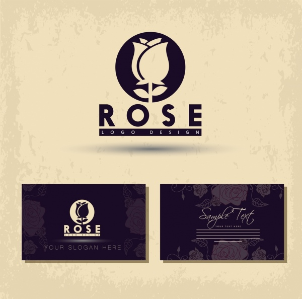 Name card template rose icon logo design Free vector in Adobe - name card format