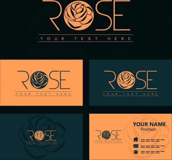 Name card template rose logotype design Free vector in Adobe
